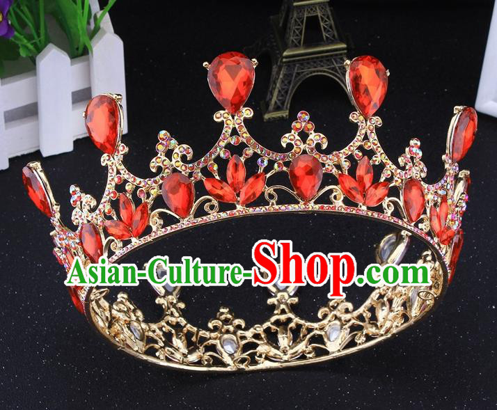 Top Grade Baroque Court Princess Red Round Royal Crown Wedding Bride Hair Accessories for Women