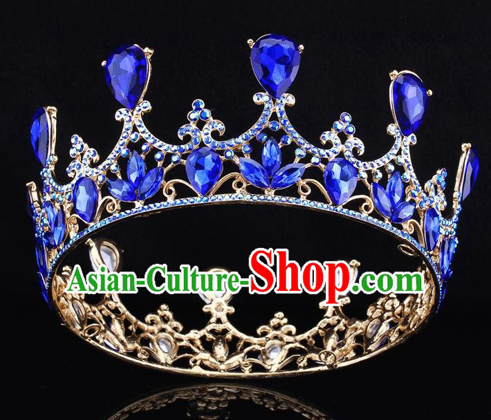 Top Grade Baroque Court Princess Blue Round Royal Crown Wedding Bride Hair Accessories for Women