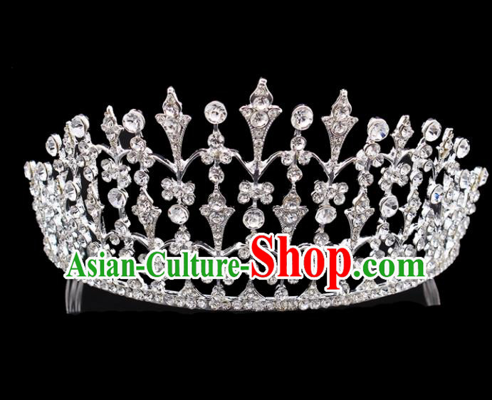 Top Grade Baroque Court Princess Crystal Royal Crown Bride Wedding Hair Jewelry Accessories for Women