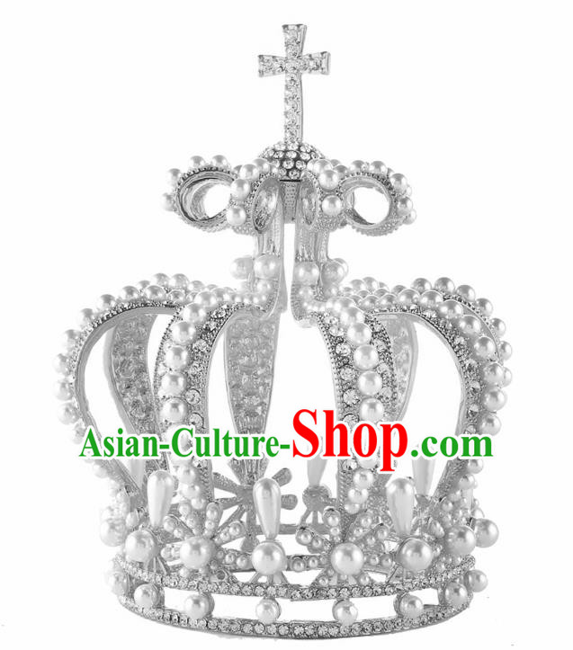 Top Grade Queen Pearls Argent Royal Crown Retro Baroque Wedding Bride Hair Accessories for Women