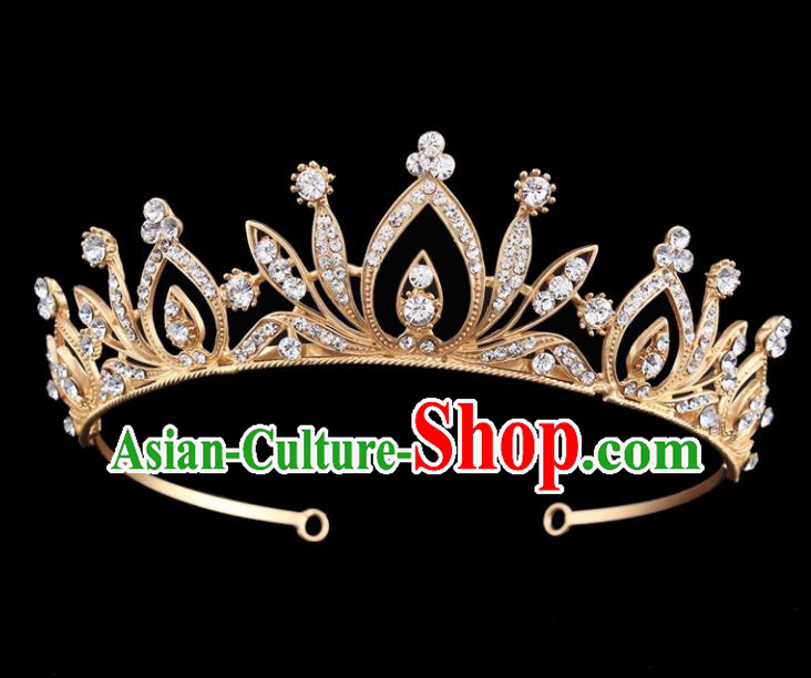 Top Grade Baroque Court Princess Golden Crystal Hair Clasp Bride Wedding Hair Jewelry Accessories for Women