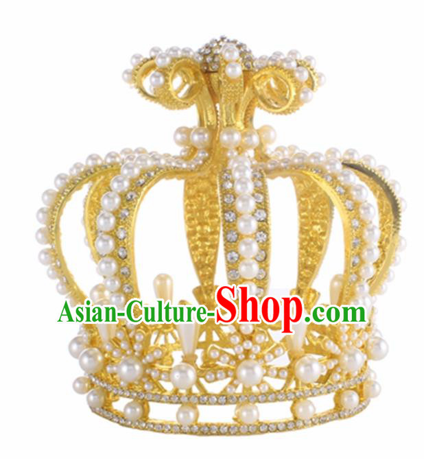 Top Grade Queen Golden Royal Crown Retro Baroque Wedding Bride Pearls Hair Accessories for Women