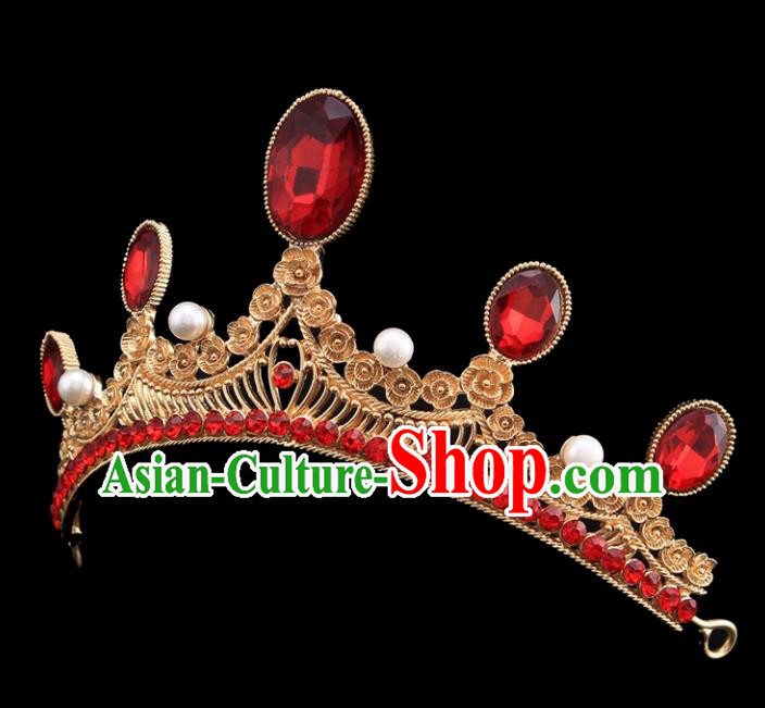 Top Grade Bride Wedding Hair Jewelry Accessories Baroque Red Crystal Royal Crown for Women