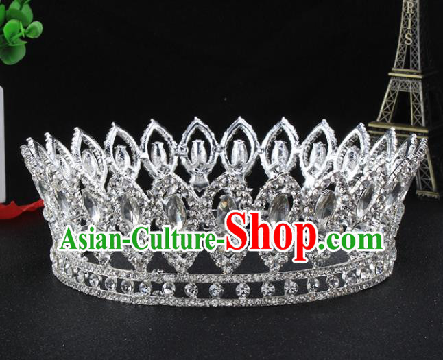 Top Grade Bride Wedding Hair Jewelry Accessories Baroque Crystal Round Royal Crown for Women
