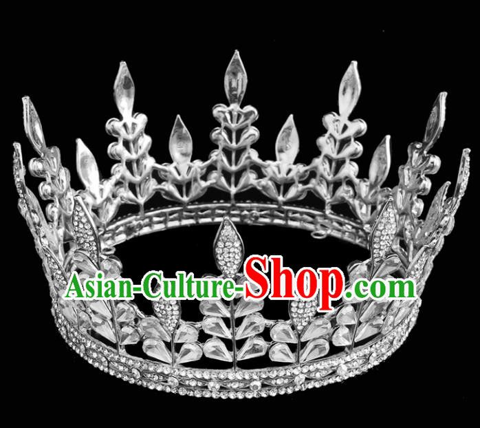 Top Grade Queen Round Royal Crown Retro Baroque Wedding Bride Hair Accessories for Women