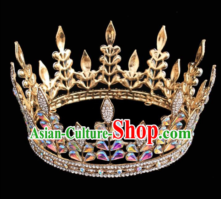 Top Grade Queen Round Golden Royal Crown Retro Baroque Wedding Bride Hair Accessories for Women