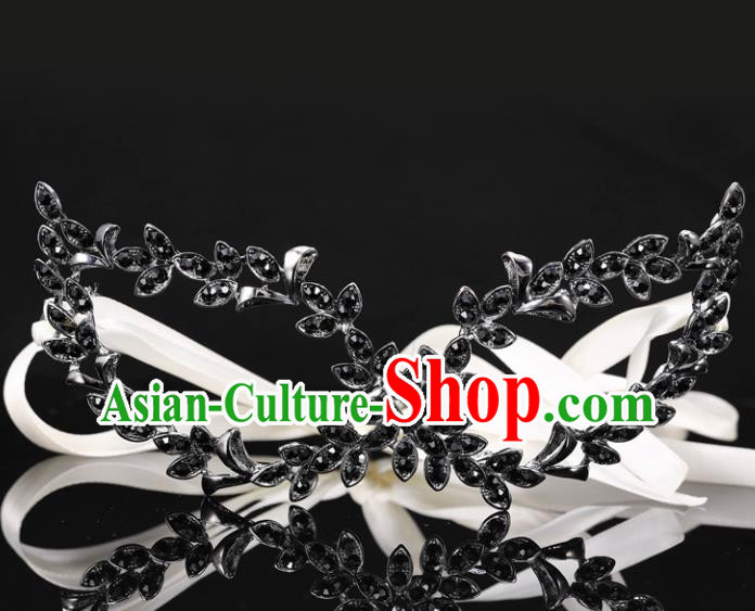 Handmade Halloween Accessories Venice Fancy Ball Black Leaf Crystal Masks for Women