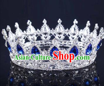 Handmade Bride Wedding Hair Jewelry Accessories Baroque Queen Royalblue Crystal Royal Crown for Women