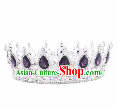Handmade Bride Wedding Hair Jewelry Accessories Baroque Queen Purple Crystal Royal Crown for Women