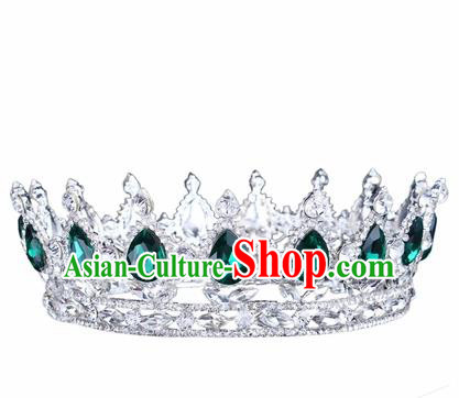 Handmade Bride Wedding Hair Jewelry Accessories Baroque Queen Green Crystal Royal Crown for Women