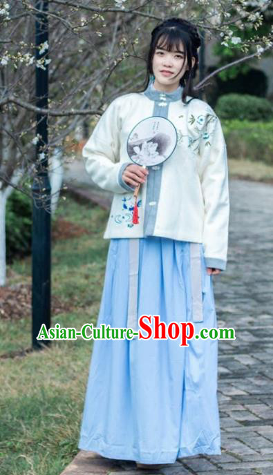 Traditional Chinese Ming Dynasty Nobility Lady Woolen Costumes for Rich Women
