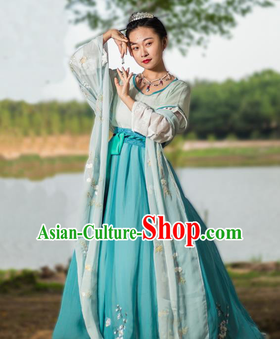 Ancient Chinese Tang Dynasty Hanfu Dress Imperial Consort Embroidered Costumes for Women