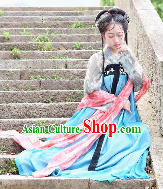 Ancient Chinese Tang Dynasty Courtesan Hanfu Dress Palace Princess Embroidered Costumes for Women