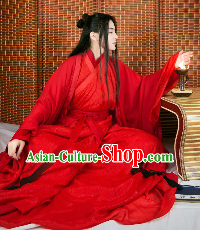 Chinese Ancient Han Dynasty Swordsman Wedding Red Costumes Complete Set for Men