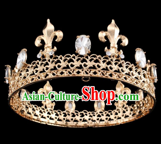 Handmade Bride Wedding Hair Jewelry Accessories Baroque Golden Royal Crown for Women