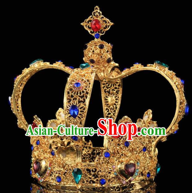 Handmade Bride Wedding Hair Jewelry Accessories Baroque Queen Colorful Crystal Royal Crown for Women