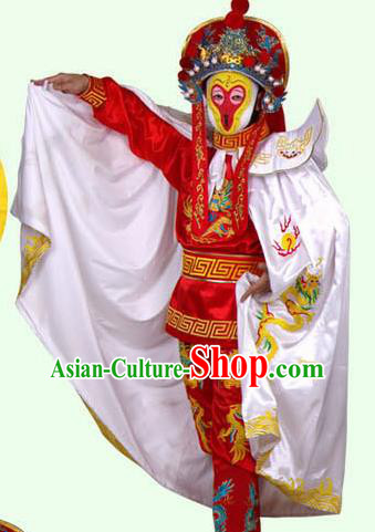 Chinese Traditional Beijing Opera Costumes Sichuan Opera Changing Faces Embroidered White Cloak for Men