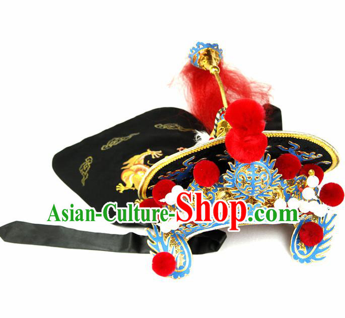 Chinese Traditional Beijing Opera Hats Sichuan Opera Changing Faces Embroidered Helmet for Men