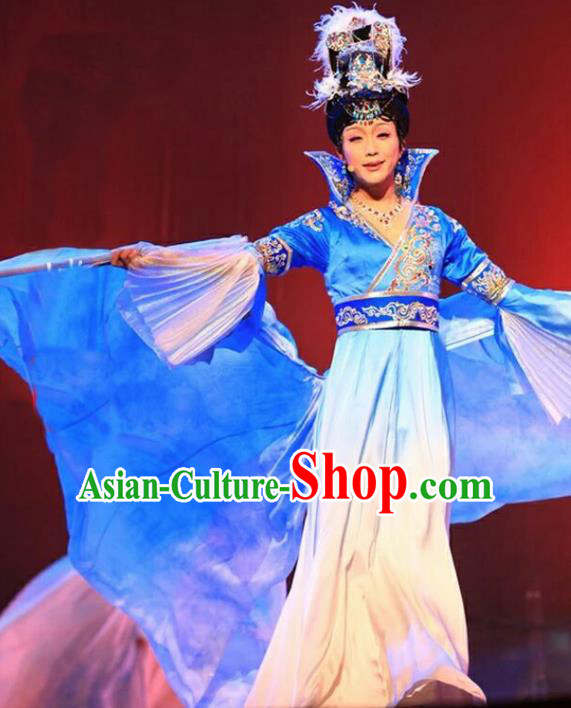 Chinese Tang Dynasty Imperial Consort Yang Embroidered Costumes Ancient Beauty Blue Hanfu Dress for Women