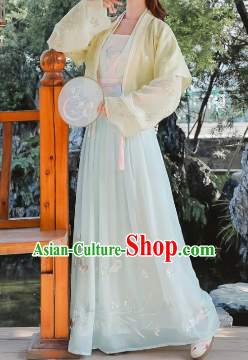 Chinese Tang Dynasty Young Lady Costumes Ancient Nobility Embroidered Hanfu Dress for Women