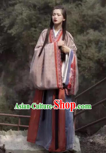 Chinese Jin Dynasty Palace Princess Costumes Ancient Fairy Swordswoman Hanfu Dress for Women