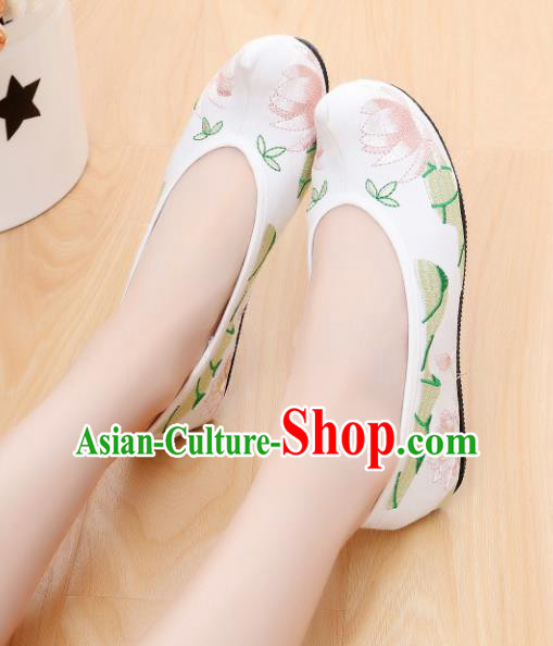 Chinese Ancient Shoes Hanfu Shoes White Embroidered Shoes Princess Shoes for Women