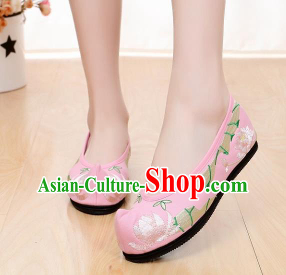 Chinese Ancient Shoes Hanfu Shoes Pink Embroidered Shoes Princess Shoes for Women
