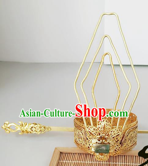 Chinese Ancient Hair Accessories Prince Hairdo Crown Hairpins for Men