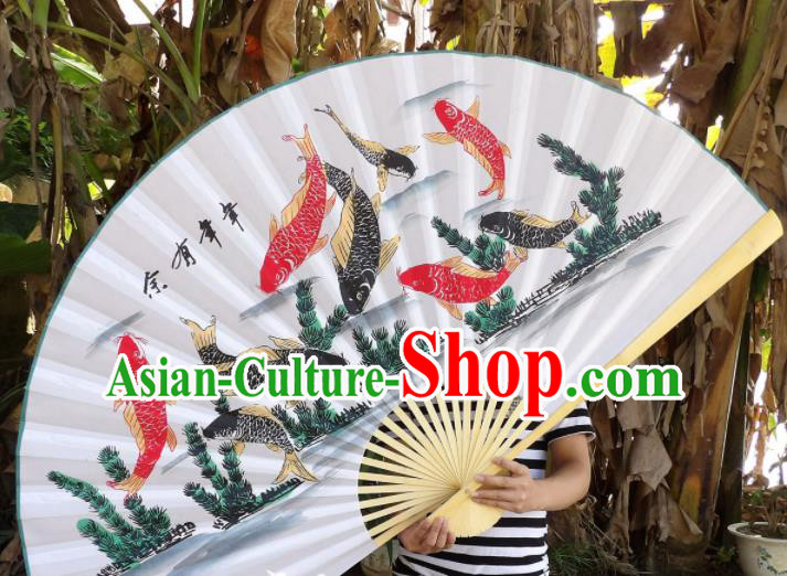 Chinese Traditional Paper Fans Decoration Crafts Handmade Printing Nine Fishes Wood Frame Folding Fans