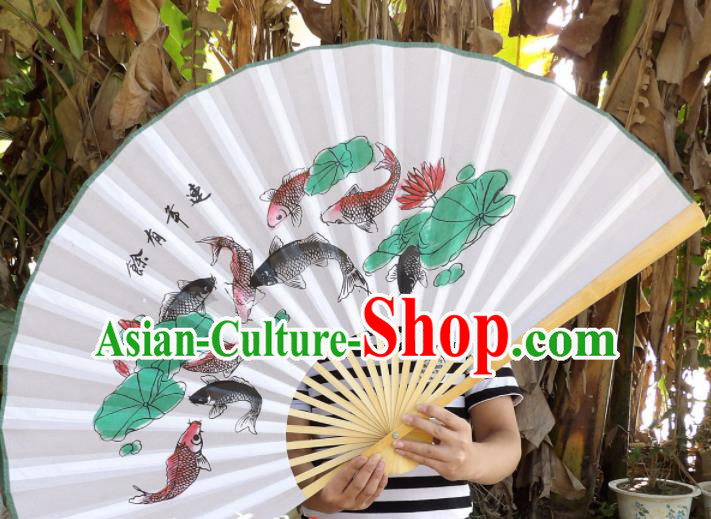 Chinese Traditional Paper Fans Decoration Crafts Handmade Printing Nine Fishes Lotus Wood Frame Folding Fans