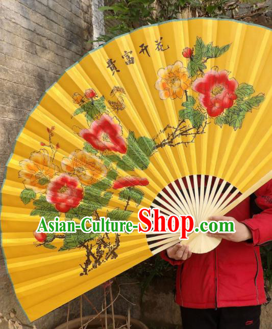 Chinese Traditional Handmade Yellow Silk Fans Decoration Crafts Printing Peony Wood Frame Folding Fans