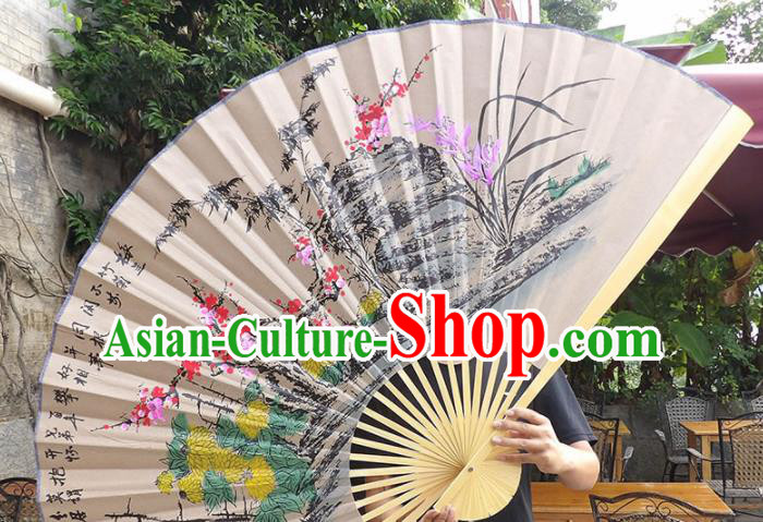 Chinese Traditional Crafts Wood Frame Folding Fans Ink Painting Plum Blossom Orchid Bamboo and Chrysanthemum Paper Fans