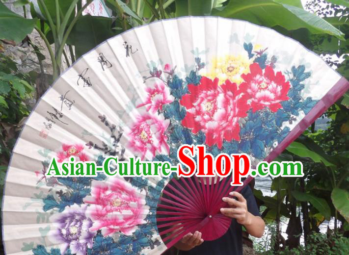 Chinese Traditional Decoration Crafts Red Wood Frame Folding Fans Hand Painting Peony Paper Fans