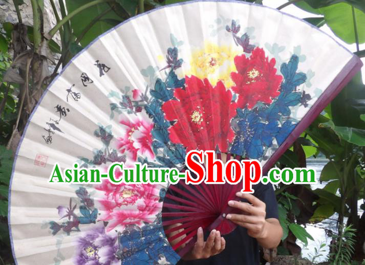Chinese Traditional Decoration Crafts Red Wood Frame Folding Fans Hand Painting Peony Flowers Paper Fans