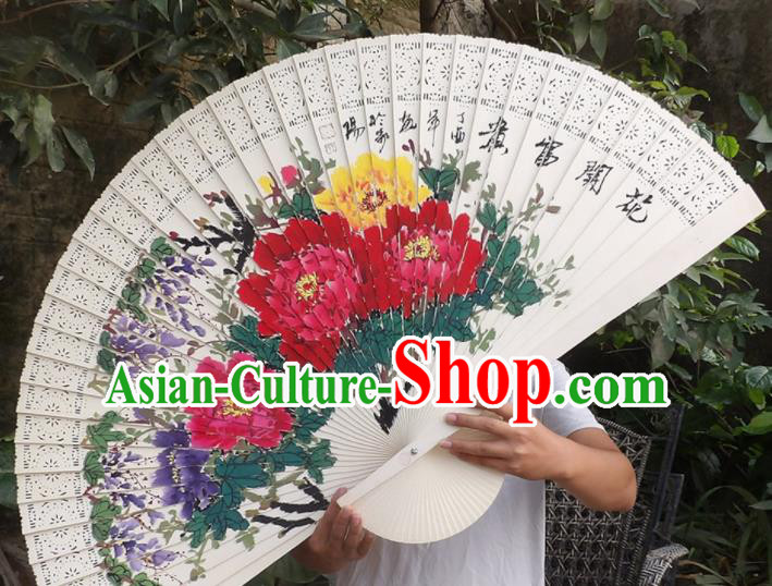 Chinese Traditional Fans Decoration Crafts Hand Painting Peony Flowers Folding Fans Wood Fans