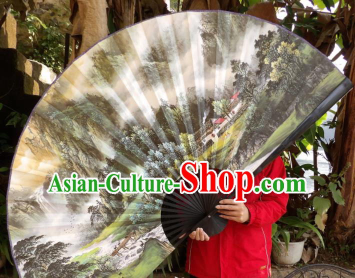 Chinese Traditional Fans Decoration Crafts Hand Painting Landscape Black Frame Folding Fans Paper Fans
