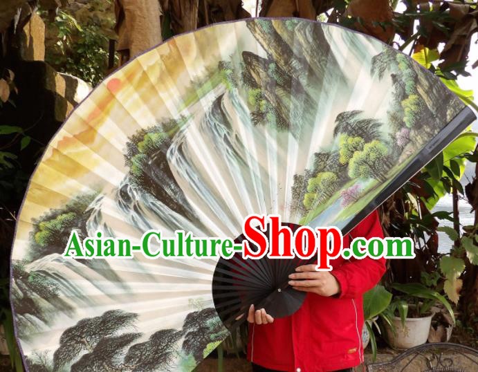 Chinese Traditional Fans Decoration Crafts Hand Painting Waterfall Landscape Black Frame Folding Fans Paper Fans