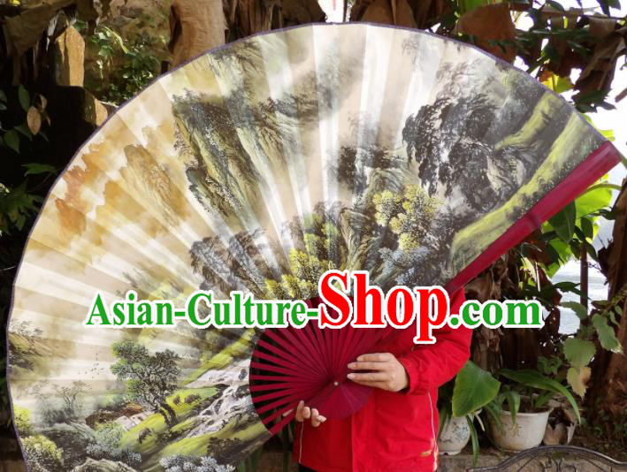 Chinese Traditional Fans Decoration Crafts Hand Ink Painting Landscape Red Frame Folding Fans Paper Fans