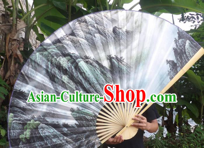 Chinese Traditional Paper Fans Decoration Crafts Landscape Painting Wood Frame Folding Fans