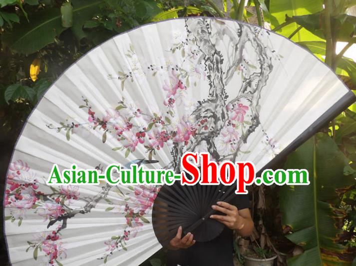 Chinese Traditional Fans Decoration Crafts Black Frame Painting Peach Blossom Folding Fans Paper Fans