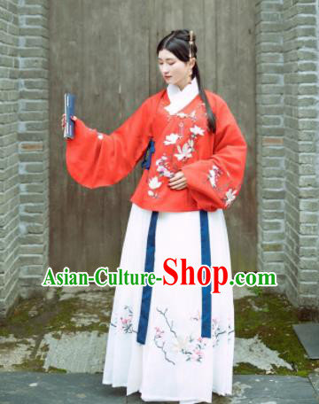 Traditional Chinese Ming Dynasty Nobility Lady Costumes Ancient Embroidered Hanfu Dress for Women
