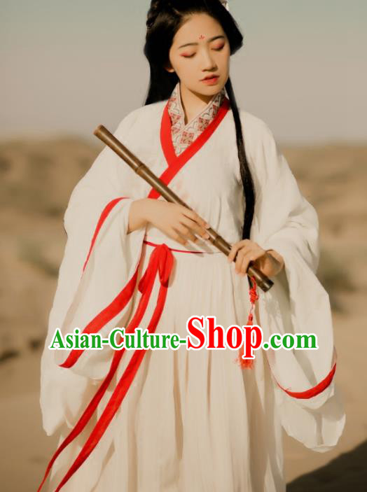 Traditional Chinese Jin Dynasty Nobility Lady Costumes Ancient Swordswoman White Hanfu Dress for Women