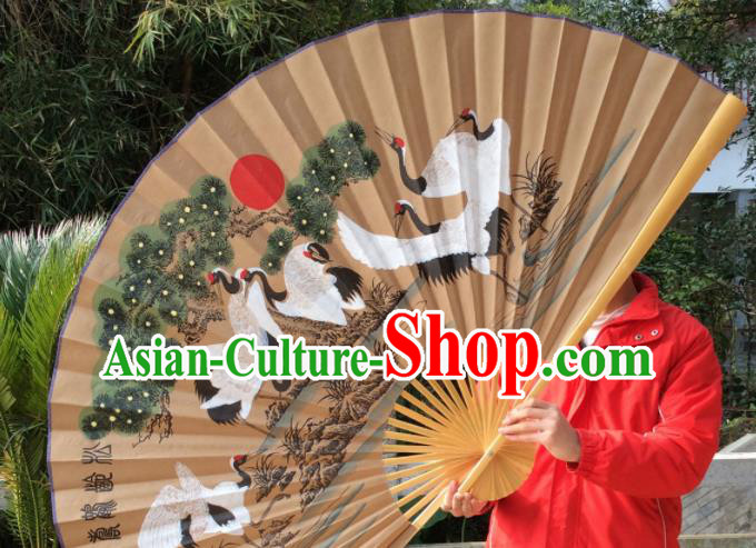 Chinese Traditional Handmade Paper Fans Decoration Crafts Painting Cranes Wood Frame Folding Fans
