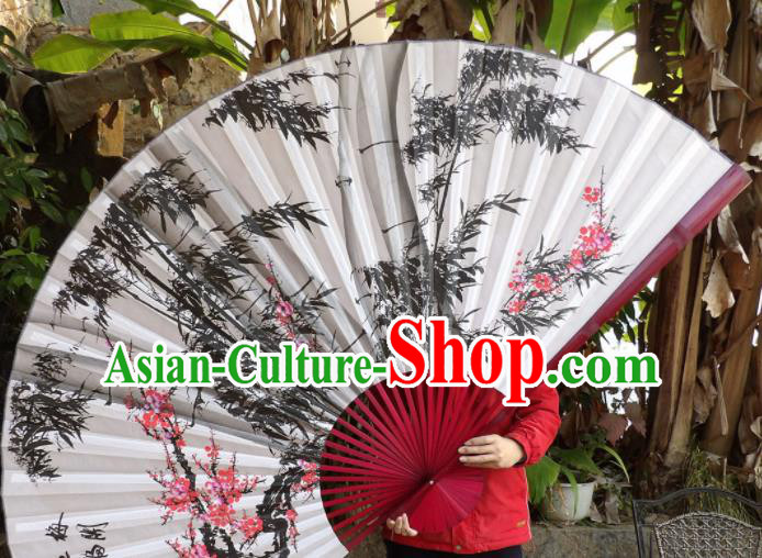 Chinese Traditional Handmade Silk Fans Decoration Crafts Ink Painting Plum Blossom Bamboo Red Frame Folding Fans