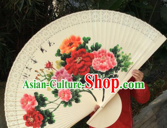 Chinese Traditional Handmade Wood Fans Decoration Crafts Ink Painting Peony Folding Fans