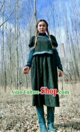 Chinese Traditional Mongol Ethnic Costume Mongolian Minority Nationality Green Robe for Women