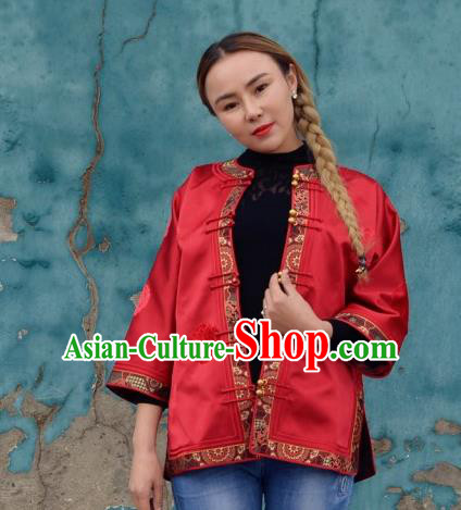 Chinese Traditional Mongol Ethnic Costume Mongolian Minority Nationality Red Brocade Blouse for Women
