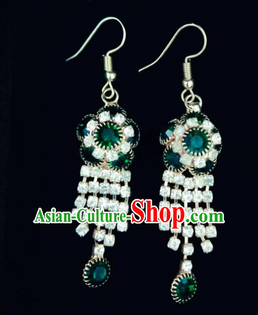 Chinese Ethnic Jewelry Accessories Mongolian Minority Nationality Crystal Earrings for Women