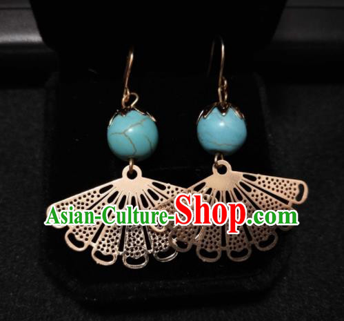 Chinese Ethnic Jewelry Accessories Mongolian Minority Nationality Fan-Shape Earrings for Women