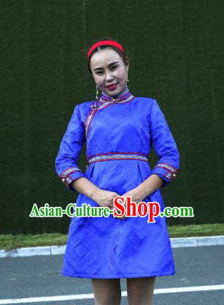 Chinese Mongol Minority Ethnic Costume Traditional Mongolian Blue Brocade Dress for Women